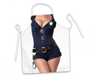 Avental de cozinha corpo mulher policial