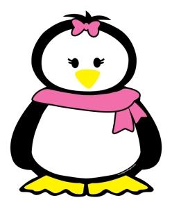 Porta recado magnético divertido pinguim cachecol e lacinho rosa
