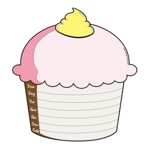 Imã de geladeira cupcake dias da semana