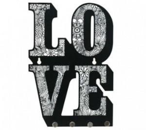 porta chave love Preto