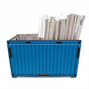 Revisteiro container azul