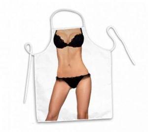 Avental corpo lingerie preta