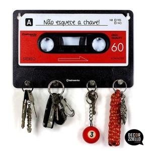 Porta chave cassete vermelha
